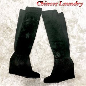Chinese Laundry Black over the Knee Wedge boot 8.5